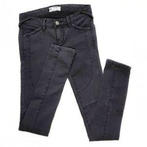 Free People Dark Grey Ankle Zip Moto Skinny Jeans
